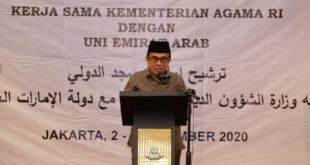 Menag saat memberikan sambutan seleksi calon imam masjid luar negeri angkatan II scaled