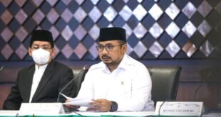 Menteri Agam Yaqut Cholil Qoumas saat umumkan keputusan haji 2021