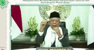 Wapres KH Maruf Amin saat memberikan sambutan pada Mukernas I MUI yang digelar secara daring